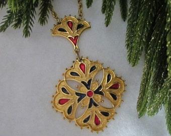 Vintage Kramer Necklace red and green enamel necklace