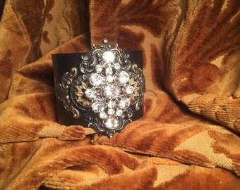 Antique Buckle Cuff Bracelet, Rhinestone Bracelet, Victorian Bracelet, Black Bracelet