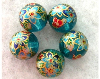 5 Beautiful Japanese TENSHA Beads CLEMATIS on AQUA 12mm