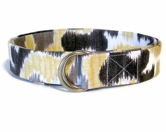 Gray D-ring Belt SALE Girls Belt - Gold Ribbon Belt - Skinny Fabric Belt Toddler Belt Womens Belt 1 inch Waist Belt - Back To School Sale