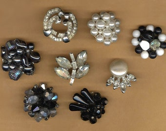 vintage single earrings BOX LOT backs cut off glamourous EIGHT whites blacks bridal bouquet hot glue embellishment earrings repurpose