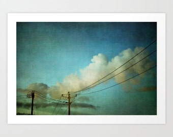 nature photo- blue sky-white clouds- surreal- urban landscape- Late Evening Sky fine art photograph- wall art- boho chic decor