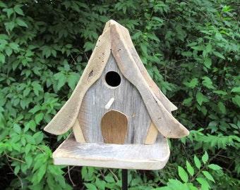 Swiss Chalet Primitive Birdhouse Fairy Garden Birdhouse