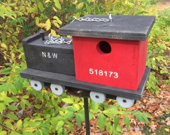 Red and Black Choo Choo Train Primitive Birdhouse Locomotion Caboose