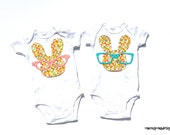 Easter//Bunny//Glasses// Twins//Siblings//Fabric Iron On Appliques