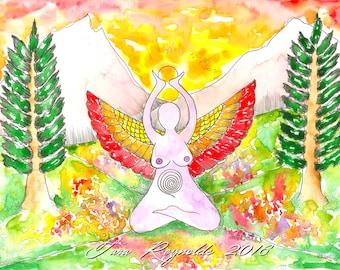 Earth Goddess Original Watercolor Painting Fantasy Art Pagan Art Goddess Wall Art Mother Goddess Divine Feminine Spiritual Art Altar Art