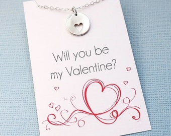 Valentines Gift | Heart Charm Necklace | Will You Be My Valentine | Heart Necklace | Sentiment Card | Charm Necklace | Silver or Gold | L07