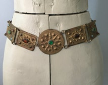 Antique Metal Belt with Glass Stones Embossed 32 Inch Waist Brass Multi Color Stones Mystic