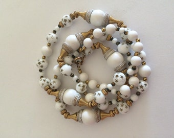 Beaded Necklace Retro White Glass with Gold Stars 30 Inch Length
