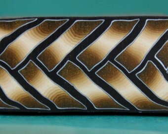 Antique Gold and Black Polymer Clay Braid Cane (44C)