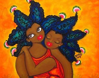 Prints:5x7 DEVELOP the Habit of SELF ENCOURAGEMENT Affirmation Natural Hair KarinsArt karin turner  african american Goddess