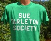 vintage 80s t-shirt SUE TARLETON society flock lettering wtf green tee Medium Large