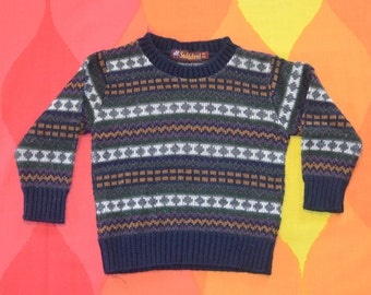 vintage 80s ski sweater SNOWFLAKE kid's children's 2 xs 2T toddler preppy 80s saddlebred navy