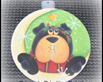 Wood Bear Ornament Hand Painted Holiday Cabin Woods Christmas Home Decor Decoration