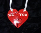 Valentine's Day Couples Ornament Set Red Heart Puzzle Piece Porcelain Me + You Wedding/Engagement/Anniversary/Sweetheart-Ready to Ship!
