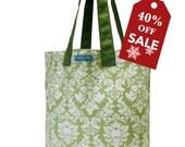 55% Holiday Sale! T3 Manhasset Avocado (laminated mint green damask) bucket purse shopping tote bag TESAGE by Yukiko Sato New York