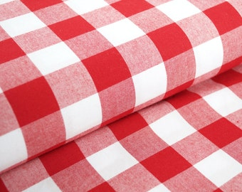 "Kaufman Carolina 1"" Gingham in red and white - yard dyed plaid woven - fabric by the yard"