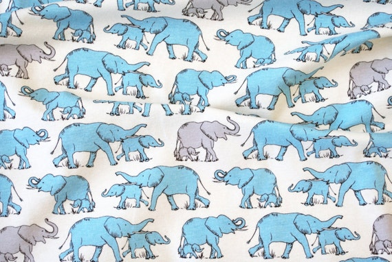 Sale half yard knit blue elephant print stretch cotton for Knit fabric childrens prints