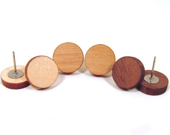 Wood Post Stud Earrings - Wooden Earrings