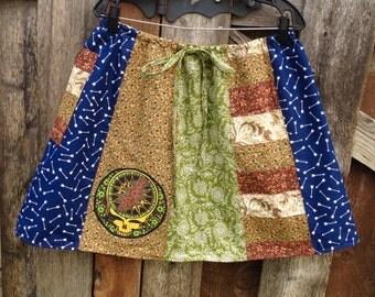 Custom Mini Skirt,Grateful Dead Skirt,DMB skirt,cotton summer skirt,short Calico Stripe Skirt,Festival Skirt,Handmade Hippie Patchwork Skirt