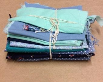 Cutter Fabric Piece Bundle -BLUE- SB35- Fabric Scraps / Vintage Scraps / Destash / Fabric Destash / Linen Scraps / Vintage Destash