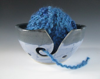 Yarn Bowl Knitting Bowl Ceramic Pottery in Dark Blue and Periwinkle