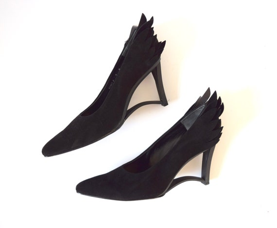 Vintage 80s 90s Charles Jourdan Paris Black Suede Hermes Winged Heel Platform Shoes (size 6.5, 7)