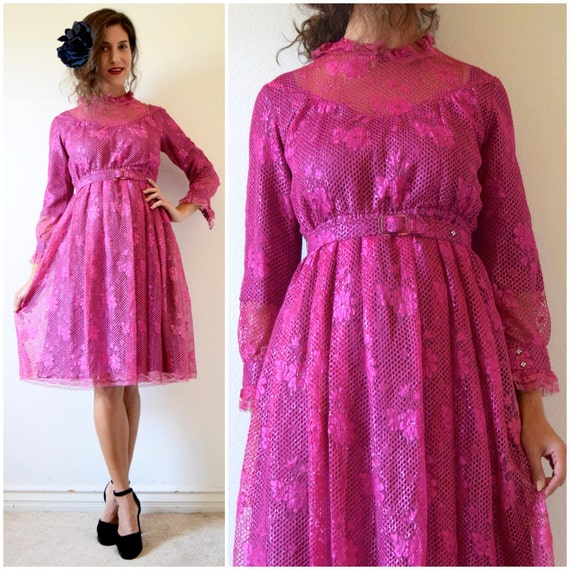 SUMMER SALE / 20% off Vintage 60s 70s Wild Orchid Metallic Fuchsia Lace Shirt Waist Dress (size xxs, xs)
