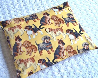 The Perfect Toddler Pillow ... Puppy Dogs on Golden Flannel ... Original Design by Sew Cinnamon beagles, labradors, german shepherds