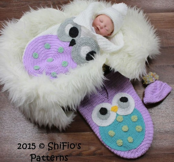 Crochet Owl Baby Cocoon : CROCHET PATTERN For Owl Baby Cocoon, Papoose & Hat in 3 Sizes U.K, U.S ...
