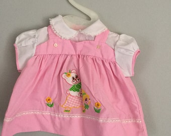 Vintage 70s 80s Pink Bear Riding A Turtle Dress 6 months