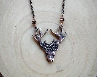 Floral Deer Pendant | Bronze