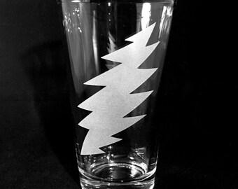 Grateful Dead Beer Glass Steal Your Face Bolt Sandblast Etched Pub Pint
