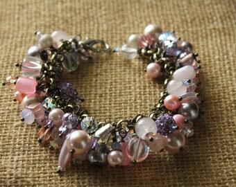 Pink charm bracelet, beaded bracelet, statement bracelet, bridal jewelry, handmade, french jewelry, FREE SHIPPING