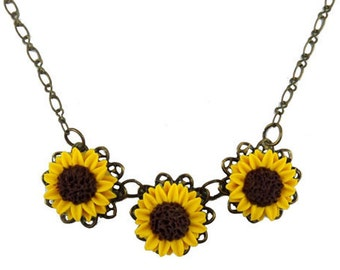 Three Sunflower Necklace - Trio Sunflower Jewelry, Sunflower Filigree Necklace