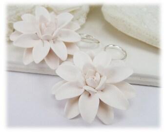 Large Dahlia Earrings - Big Dahlia Dangle Earrings, White Flower Earrings, Dahlia Jewelry
