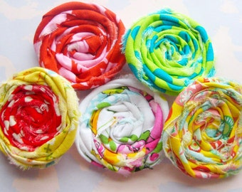 Rolled Fabric Flower Rosettes Set of Five