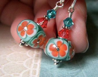 Coral Teal Earrings, Floral Lampwork Earrings Sterling Silver, Artisan Glass Lampwork Dangle, Plumeria Flower Earrings
