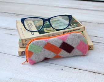 Felted Wool Glasses Case Colorful Patchwork Glasses Case in Pink Gray Orange and Green