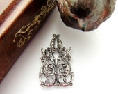 Closeout SILVER CREST Filigree Stamping ~ Jewelry Antique Silver Findings (CB-3096)
