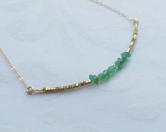 THREE DAY SALE May Birthstone Necklace Emerald Necklace Emerald Birthstone Bridesmaids Gift May Anniversary Gift for Mom