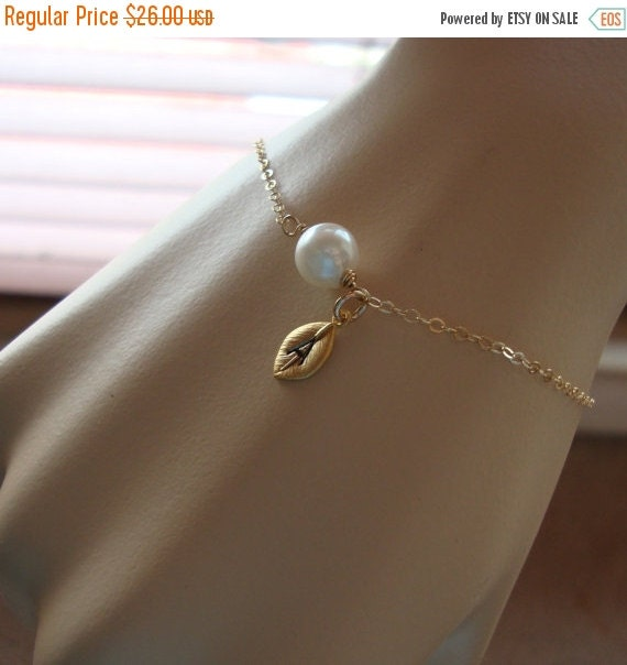 TWO DAY SALE Akoya Pearl & Leaf Bracelet - Adjustable, Hand Stamped leaf initial of your Choice, Bridal Party, Wedding