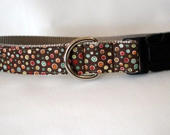 Fall Dots Dog Collar - Large - 1 inch wide - ready to ship