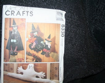Vintage New Uncut McCall's 8330 Halloween Crafts Sewing Pattern, Ghost Dustbuster, Witches, Broomstick, Witches Clothes, SEWBUSY12