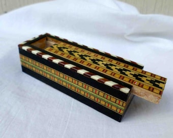 Vintage Eighties Marqueterie Wood Inlay Box Made by Miguel Laguna In Spain / Moorish influence / Numbered