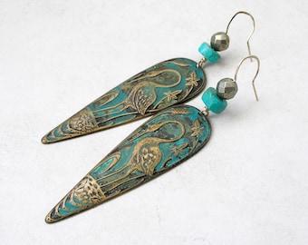 Egyptian Crane Earrings Boho Ethnic Jewelry Turquoise Pyrite Verdigris Brass Stamping Drop Dangle