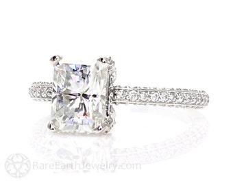 Radiant Moissanite Engagement Ring Pave Diamond Solitaire Forever Brilliant Moissanite Ring 14K Custom Engagement Ring