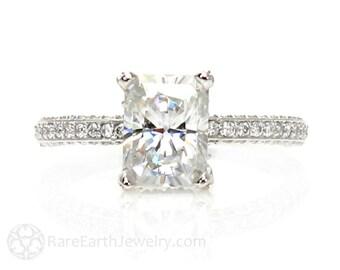 Platinum Moissanite Engagement Ring Radiant Pave Diamond Solitaire Forever Brilliant Moissanite Ring Custom Engagement Ring