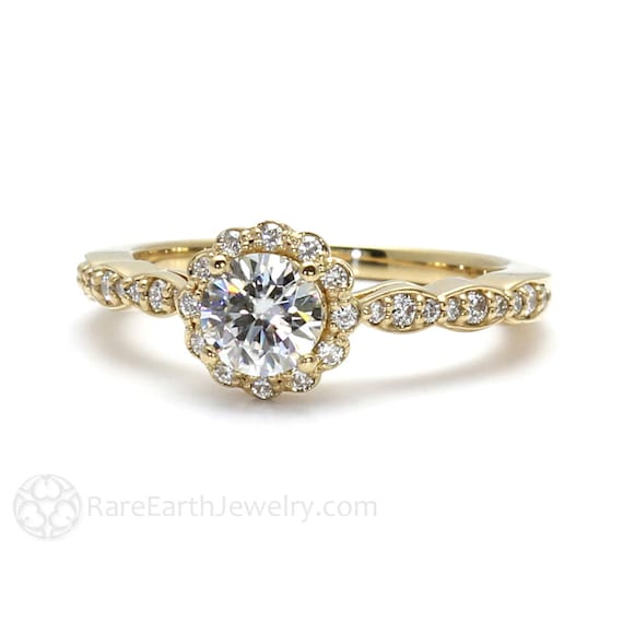 Moissanite Ring Conflict Free Engagement Ring Diamond Halo