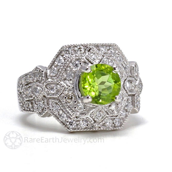 vintage ring 14k deco ring peridot ring diamonds antique